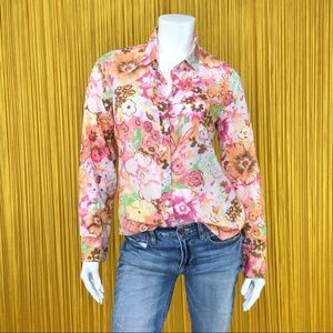 J. CREW Long Sleeve Floral Print Top Small
